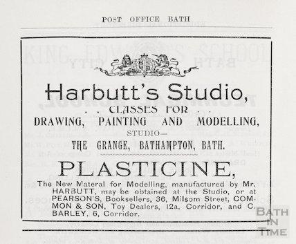 Advertisement in Bath Directory for Plasticine, 1892