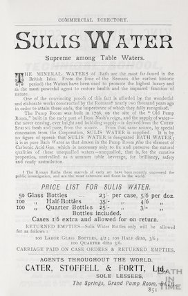 Advertisement in Bath Directory for Sulis Water, Bath 1906