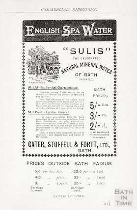 Advertisement in Bath Directory for Sulis English Spa Water, Bath, 1907