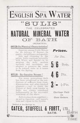 Advertisement in Bath Directory for Sulis English Spa Water, Bath, 1908