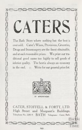 Advertisement in Bath Directory for Caters, Bath 1939