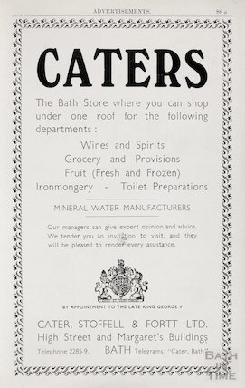 Advertisement in Bath Directory for Caters, Bath 1950