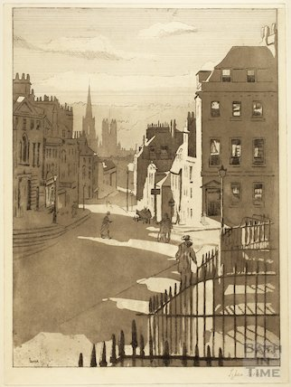 Lithograph of view down Lansdown Road, Bath c.1916