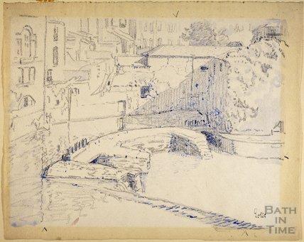The old weir and Bathwick Mill, Bath c.1916