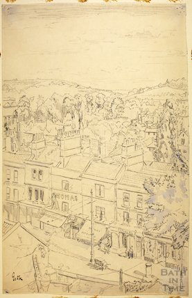View from the rear of Bladuds's Buildings of Walcot Street, Bath c.1916