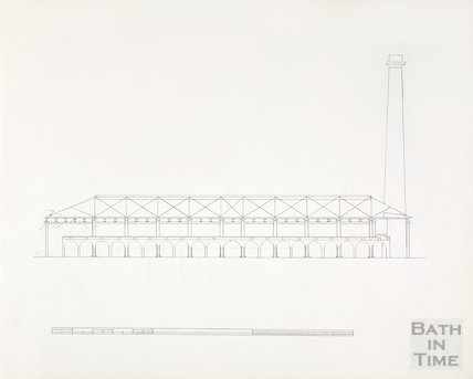 Bath Gas Works, line drawing of elevation
