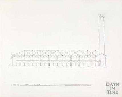 Bath Gas Works, line drawing of elevation