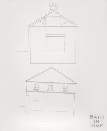 Bath Gas Works, line drawing of elevation and section