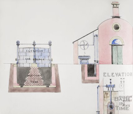 Bath Gas Works, coloured drawing of elevation of gas holder and retort stand