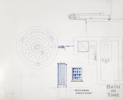 Bath Gas Works, coloured drawing of elevation of condensers