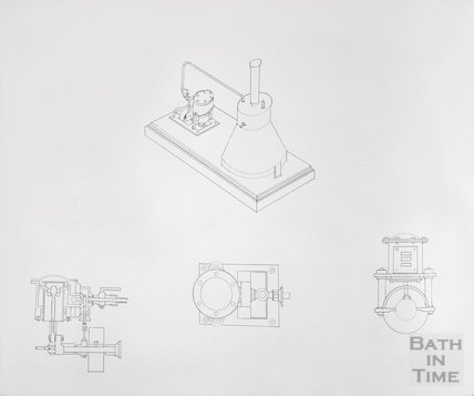Bath Gas Works, line drawings of possibly components of model horizontal engine?