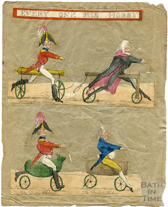 Every one his Hobby. Satirical cartoon of early bicycles c.1820