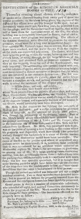 Destruction of the Kingston Assembly Rooms by Fire, December 21st 1820