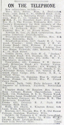 On the telephone, Bath's new subscribers to the telephone including Haile Selassie,  31 October 1936