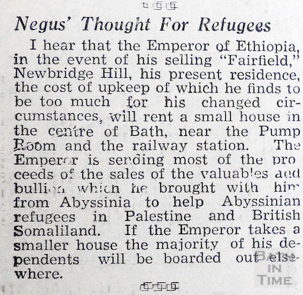Negus' thought for refugees, 13 November 1937