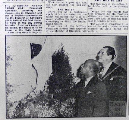 Ethiopian Ambassador unveiling a plaque at Fairfield House, Bath, 14 March 1959