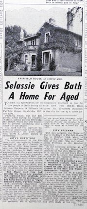 Haile Selassie gives Bath a home for the aged, 10 May 1958