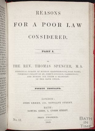 Reasons for a Poor Law Considered. Title Page, 1843