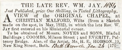 The Late Revd. William Jay, mentions engraving of Chapel at Christian Malford, January 26th 1854