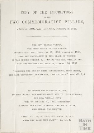 Copy of the Inscriptions of the two commemorative pillars placed in Argyle Chapel, February 2nd 1841