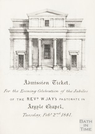 Admission Ticket for evening celebration of jubilee of Revd. Jay's pastorate in Argyle Chapel, Tuesday February 2nd 1841