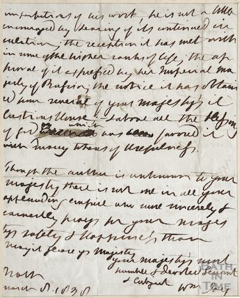 Letter To the Queen from William Jay March 1830 verso