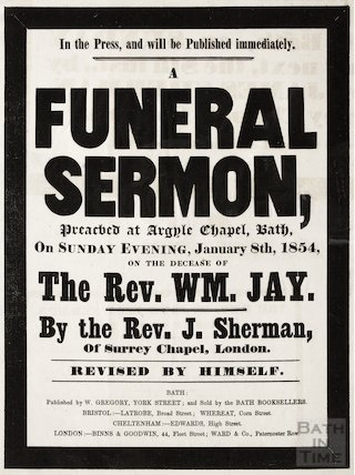 Announcement of Funeral Sermon of Revd. William Jay, January 8th 1854
