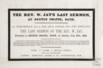 Advertisement for the sale of Revd. W. Jay's last sermon, July 25th 1852 of sermon, advertisement of January 4th 1854