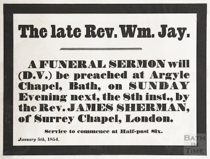 Advertisement for Funeral service of Revd. W. Jay January 5th 1854, Funeral to be 8th January at 6.30