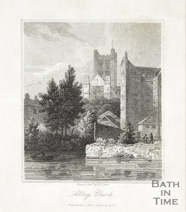 Engraving Abbey Church view from River December 2nd 1818