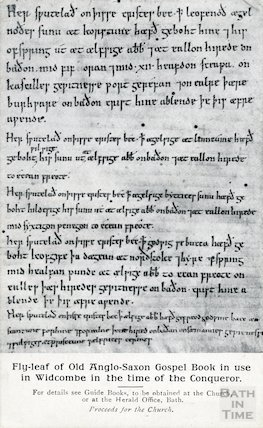 Flyleaf of old Anglo-Saxon Gospel Book used at Widcombe Old Parish Church