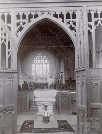 St. Michael's Church, Twerton. Interior after rebuilding of 1885 looking east. c.1902