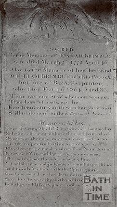 Gravestone from St. Michael's, Twerton, c.1910