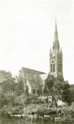 View of East end of St. John's Roman Catholic Church from river. c.1912