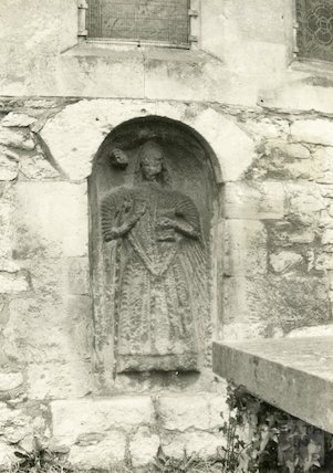 Stone figure in East wall of Bathampton Church. Photographed December 1926