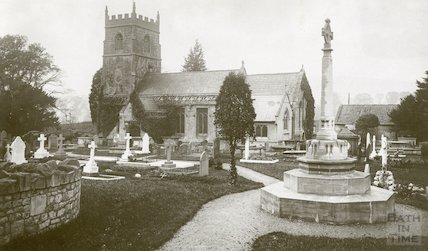 View of St. Nicholas Church, Bathampton from North showing War Memorial and Churchyard c.1950s