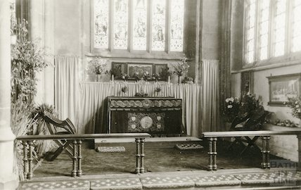 Interior of Croscombe Church. East end showing alter and chancel rail, c.1920s