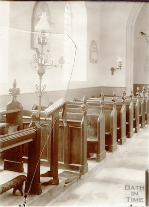Interior of Woolley Church  1903 showing new poppyhead pews