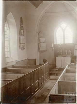 Interior of Woolley Church pre 1903 showing box pews