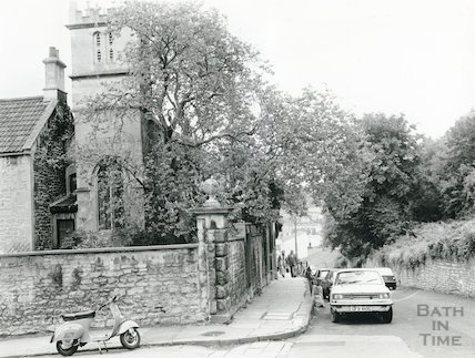 St Mary Magdelene Chapel, Holloway (showing Judas Tree) 26 September 1980