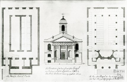 St Mary's Chapel, Queen Square, Bath (with floor plans) c.1732