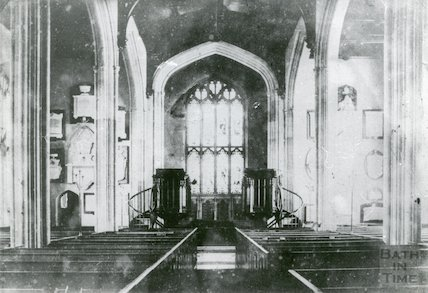 Interior of All Saints Church, Weston, Bath pre 1893