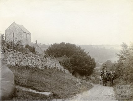 Langridge Church  with horse and cart in the foreground c.1900