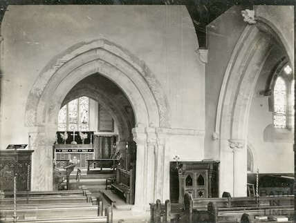 Lullington Church, interior c.1910