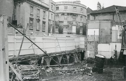 Demolition of new Royal Baths between Bath Street and St. Michael's Place September 1986