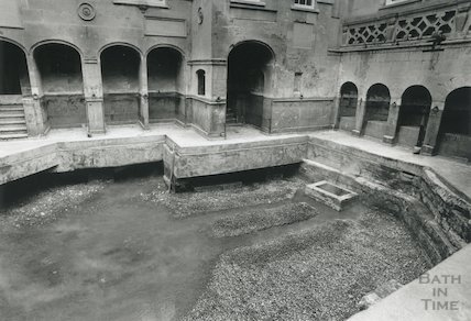 King's Bath drained following excavation, c.1993