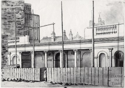 Exterior of King's Bath during construction, Bath 1789