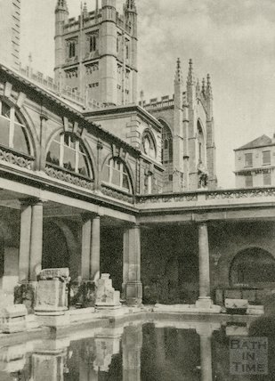View of Bath Abbey from the Roman Baths, c.1930s
