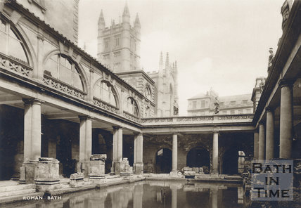 View of Bath Abbey from the Roman Baths, c.1930