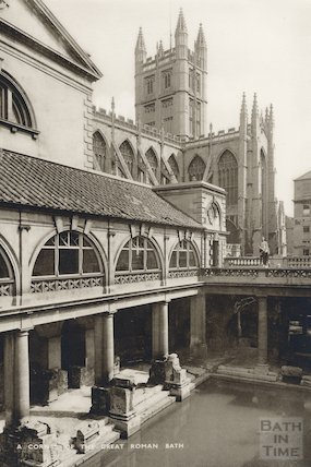 Corner of the Roman Great Bath, Bath c.1930